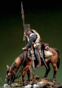 Szwoleżer poi konia w Berezynie