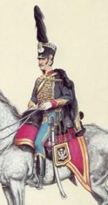 Fragment ilustracji oficera Huzarów - R. Morawskiego