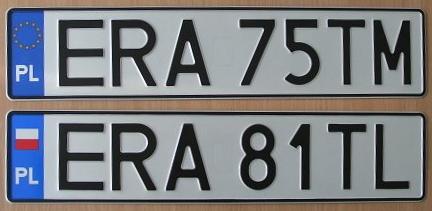 rodzaje tablic rejestracyjnych