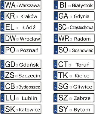 litery tablic rejestracyjnych wybranych miast