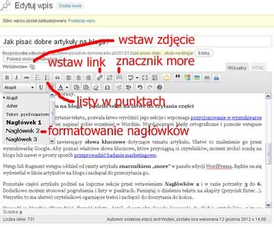 formatowanie tekstu na blogu WP